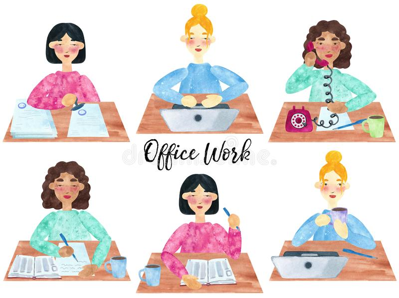 A set of young girls at work royalty free illustration
