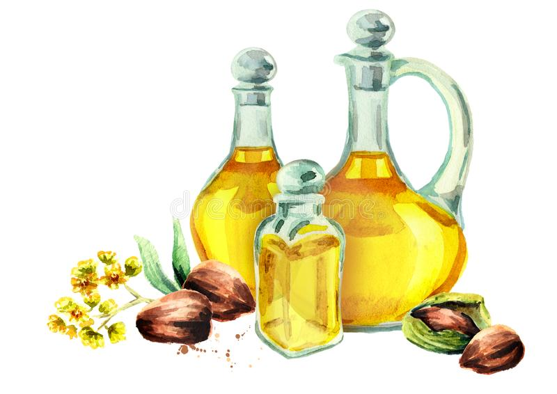 Hand drawn watercolor composition with bottles of Jojoba oil stock illustration