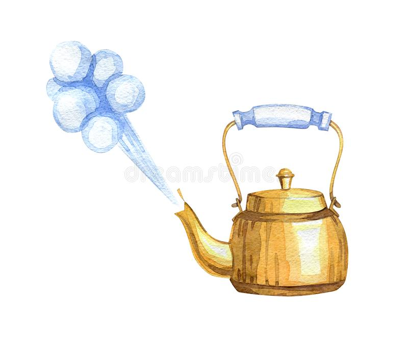 Hand-drawn watercolor copper vintage teapot. On white background royalty free illustration