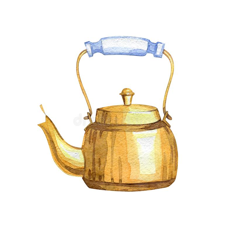 Hand-drawn watercolor copper vintage teapot royalty free illustration