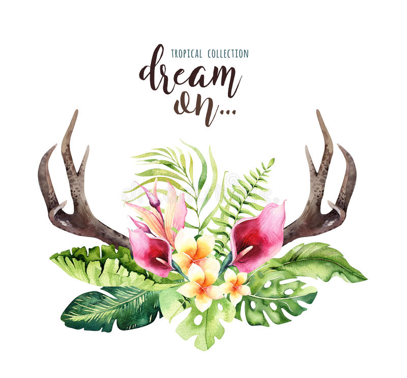 Hand Drawn Watercolor Deer Horns With Tropical Flower Bouquets ...