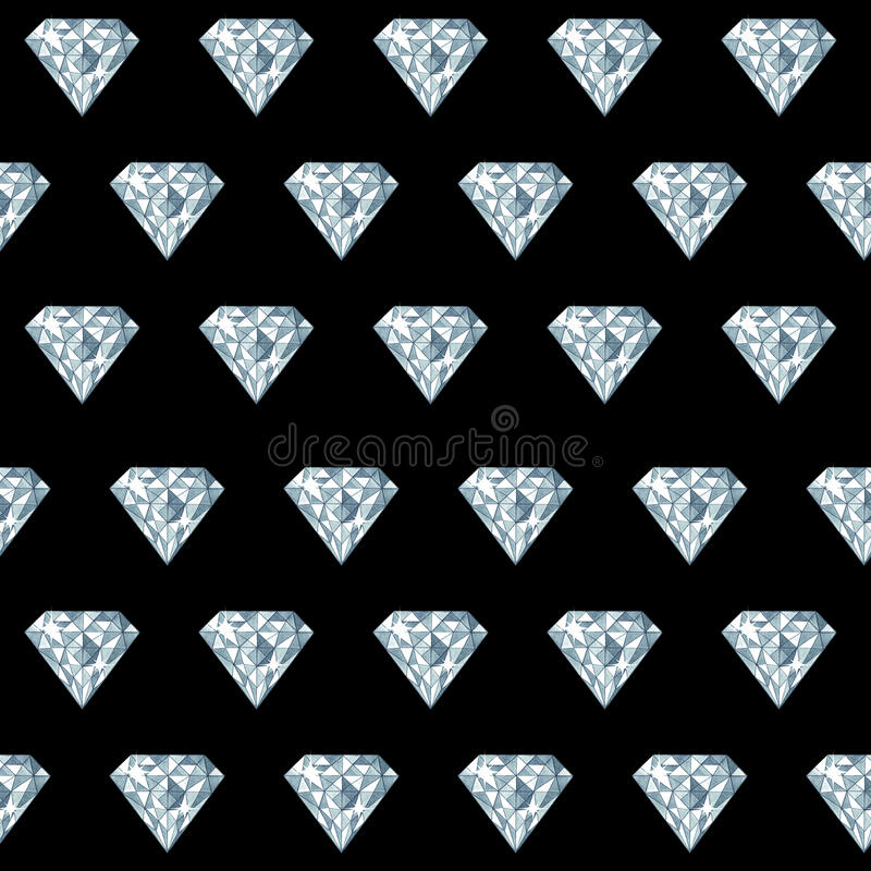 Hand drawn watercolor diamond gemstone seamless pattern royalty free stock photos