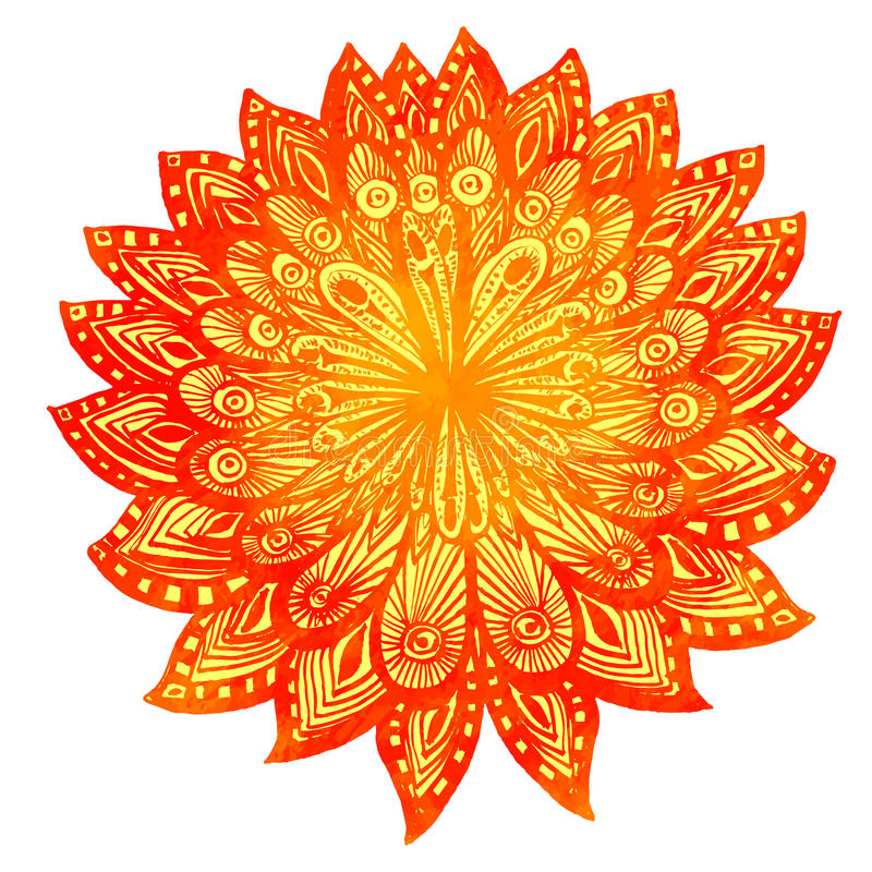 Hand Drawn Watercolor Doodle Orange Flower. Indian Stock