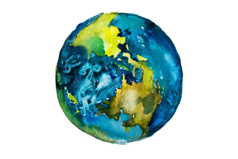 Hand drawn watercolor Earth. Globe painted with watercolours. stock illustration