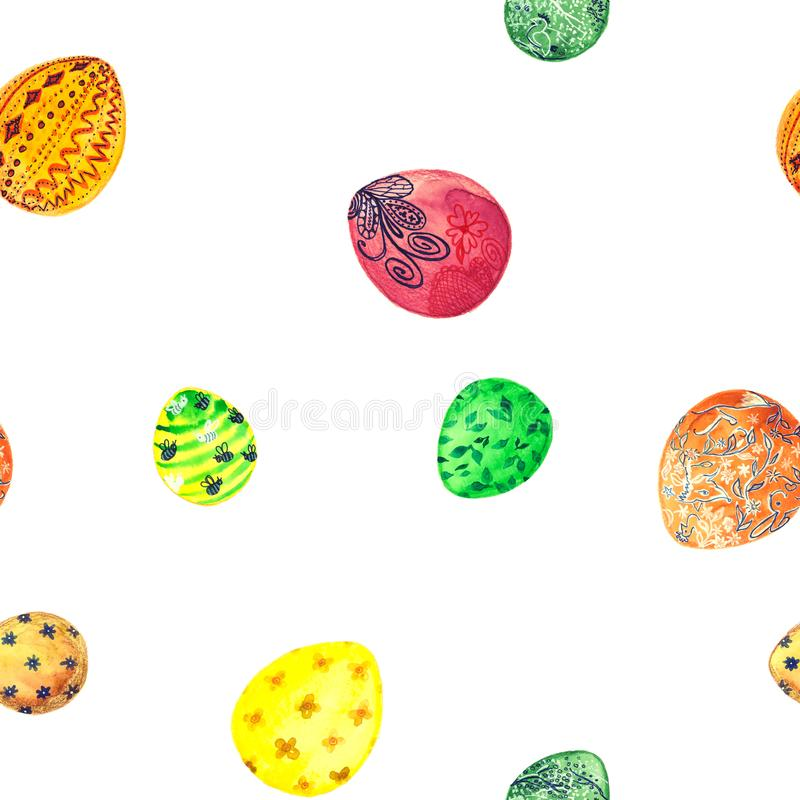 hand drawn watercolor eggs in a seamless pattern for Easter stock photography