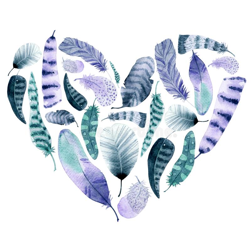 Hand drawn watercolor feather heart shape stock photography