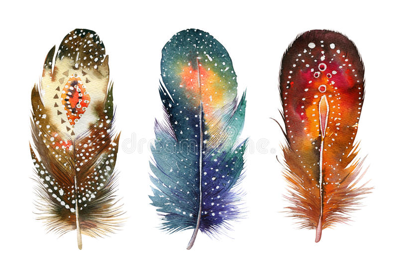 Hand drawn watercolor feather set. Boho style. Illustration isolated on white. Design for T-shirt, invitation, wedding card.Rustic Bright colors