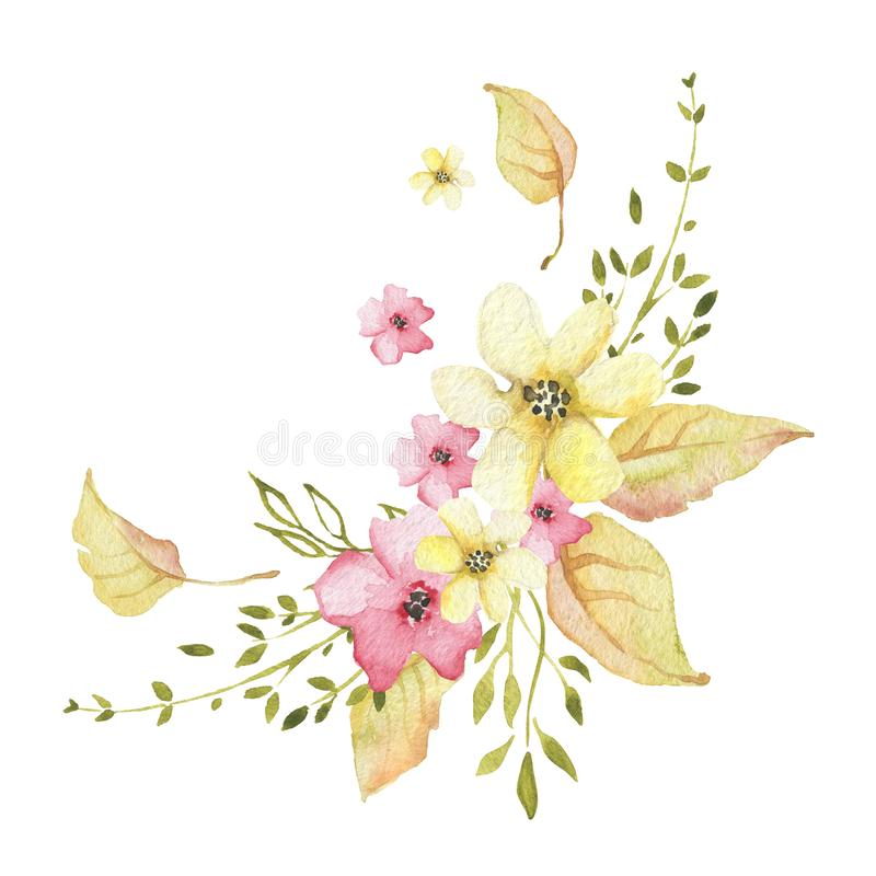 Watercolor autumn floral bouquet with flowers and golden leaves stock illustration