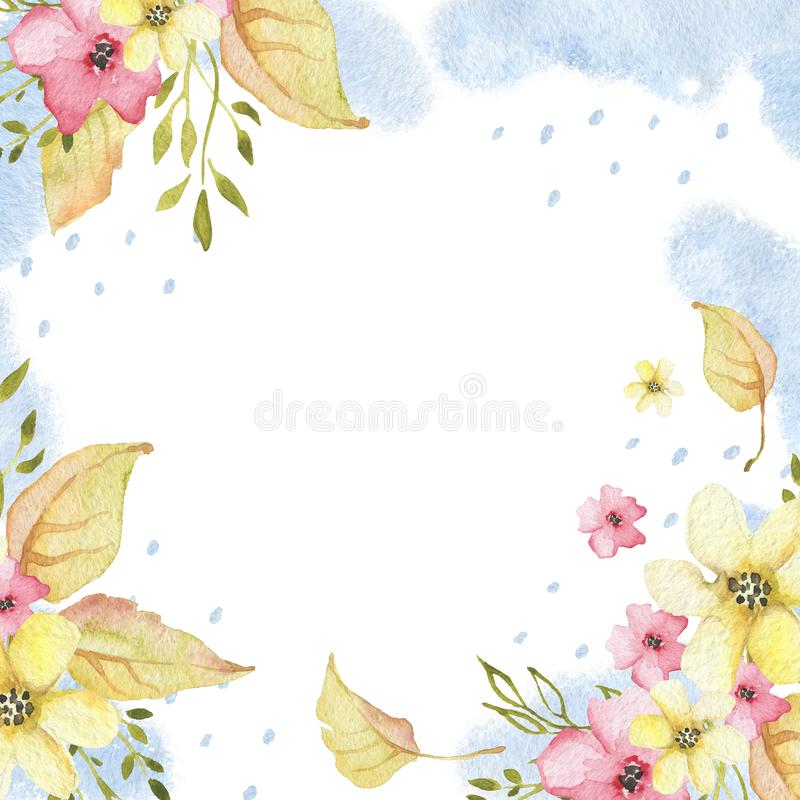 Watercolor autumn floral frame with yellow leaves and flowers stock illustration