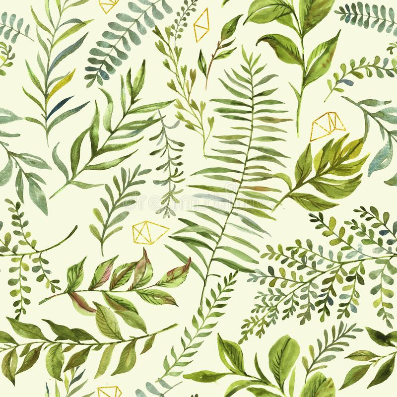 Hand-drawn watercolor floral seamless pattern with the green branches, leaves on the aquarelle background vector illustration