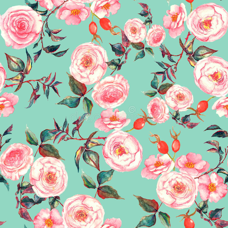 Hand drawn watercolor floral seamless pattern with tender pink roses in on the light blue background stock illustration