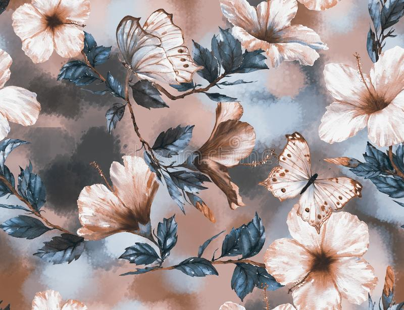 Hand-drawn watercolor floral seamless pattern with the tender white and pink hibiscus flowers and butterflies. Natural tropical and vibrant repeated print for stock illustration