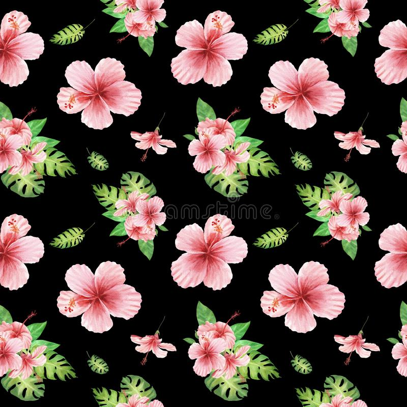 Watercolor floral tropical seamless pattern with green monstera leaves and pink hibiscus flowers on black stock illustration