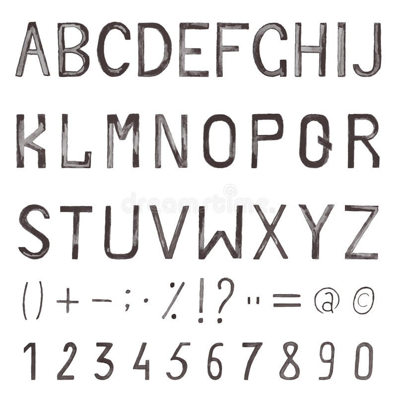 Hand Drawn Watercolor Font Alphabet With Numbers And Symbols Stock