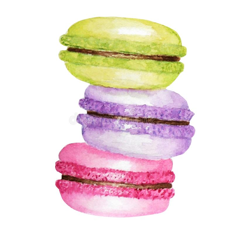 Hand drawn watercolor french macaron cakes, bright colors french pastry dessert. Isolated on white background colorful vector illustration