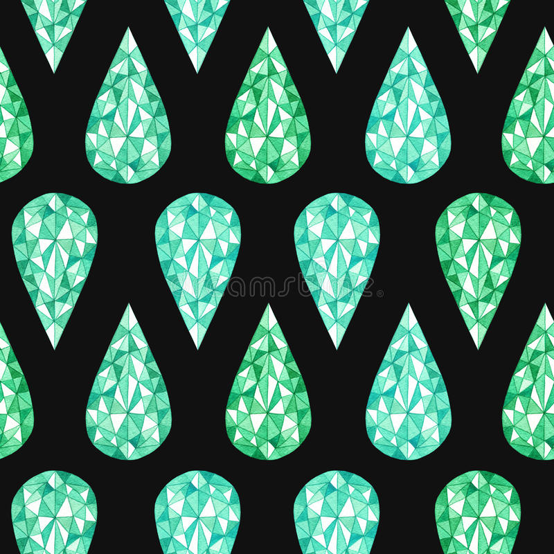 Hand drawn watercolor green gemstone seamless pattern on the black background stock photos
