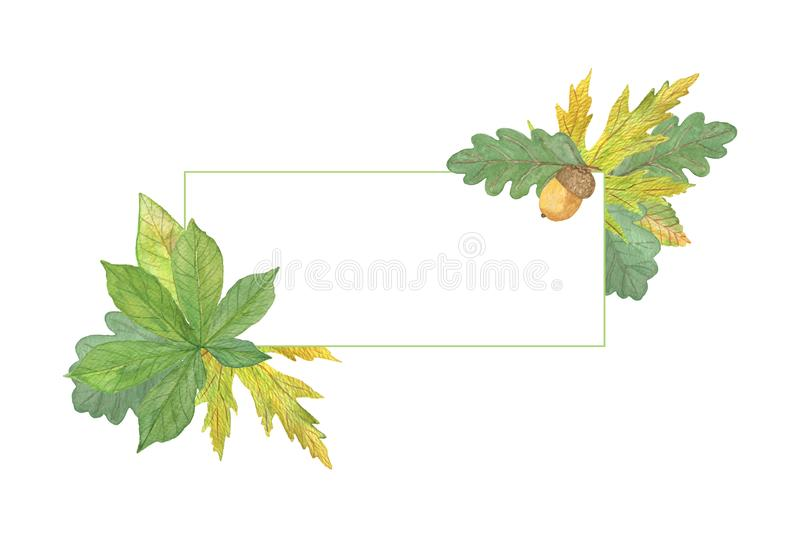 Hand drawn watercolor green and yellow autumn leaves frame, seasonal watercolor vector illustration