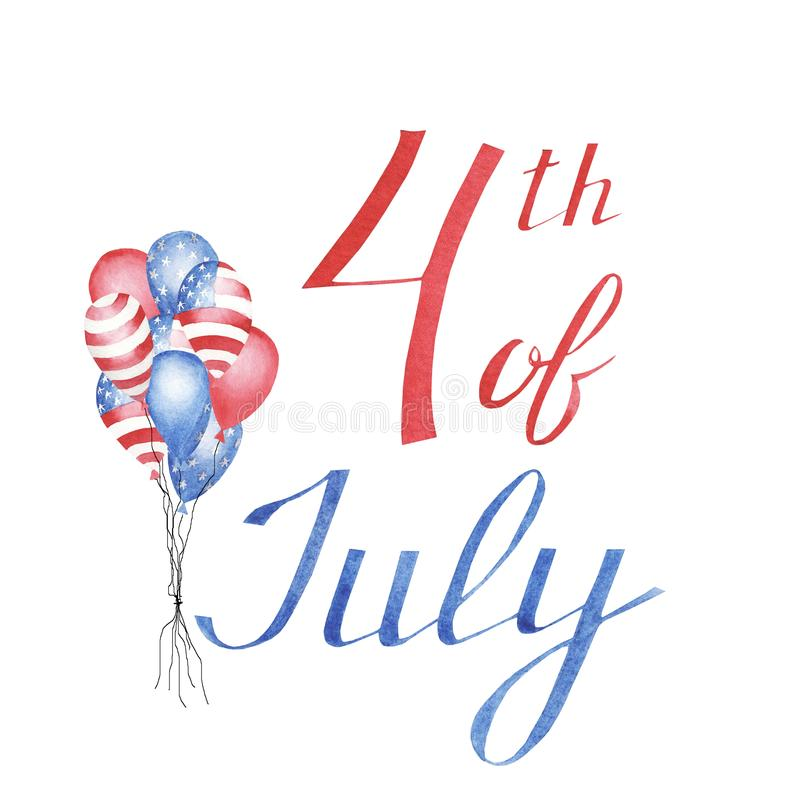 Watercolor greeting card with balloons to independence day of America stock photos