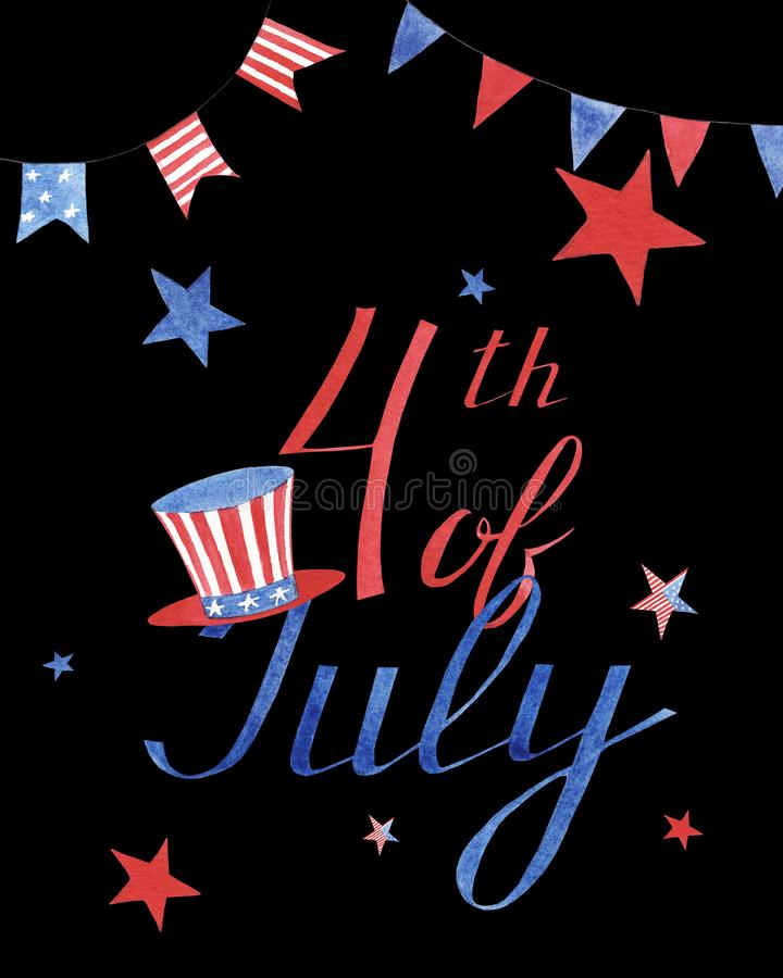 Watercolor greeting card with stars and hat to independence day of America on black background stock image