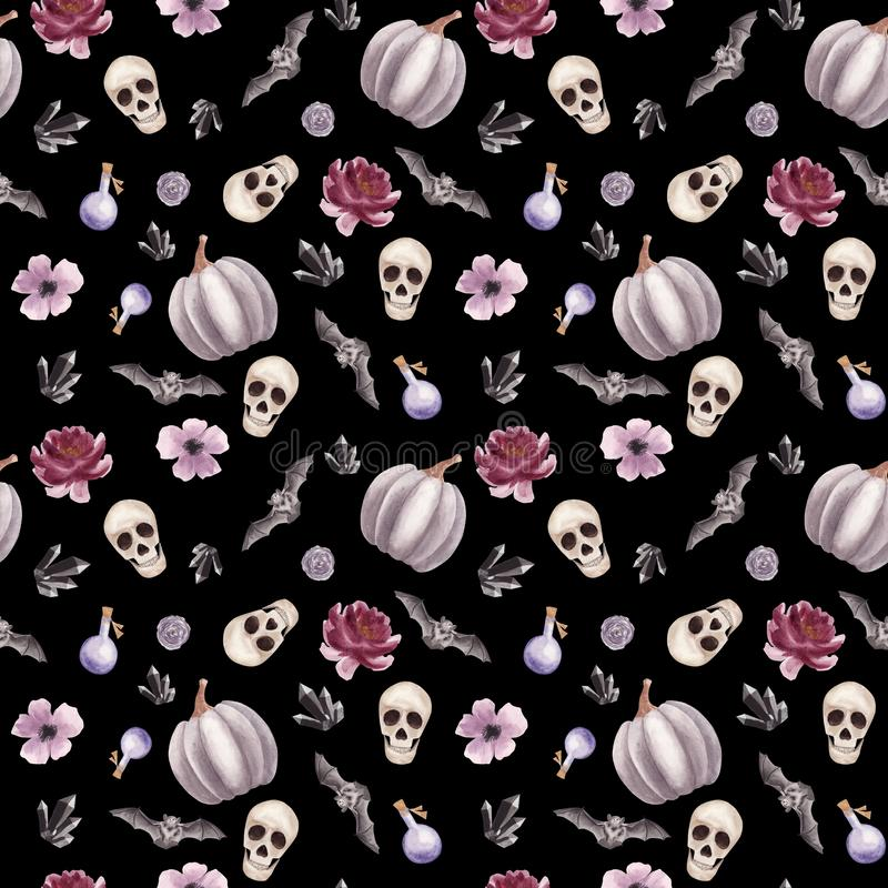Hand drawn Watercolor Halloween Seamless pattern with human Skull, flowers, bat and pumpkin on black background royalty free illustration