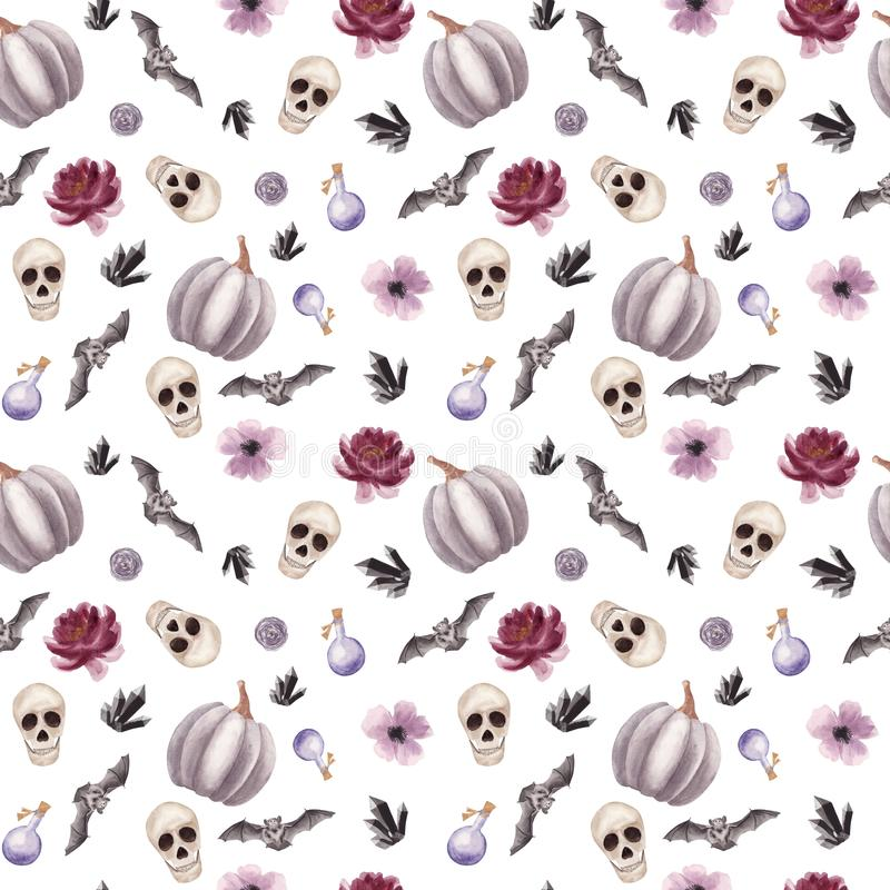 Hand drawn Watercolor Halloween Seamless pattern with human Skull, flowers, bat and pumpkin on white background vector illustration