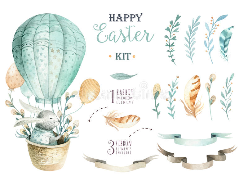 Hand drawn watercolor happy easter set with bunnies design.Rabb vector illustration