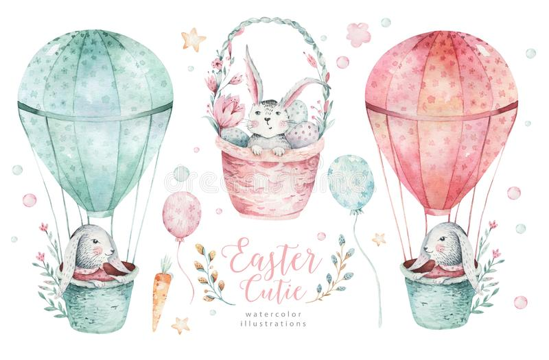 Hand drawn watercolor happy easter set with bunnies design. Rabbit bohemian style, isolated eggs illustration on white stock photography