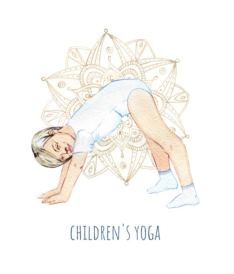 Hand-drawn watercolor happy girl doing children`s yoga. On a white bacground royalty free illustration