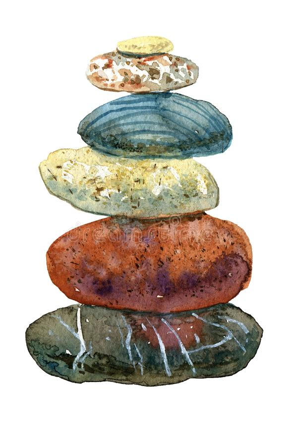 Hand drawn watercolor heap of stones stock illustration