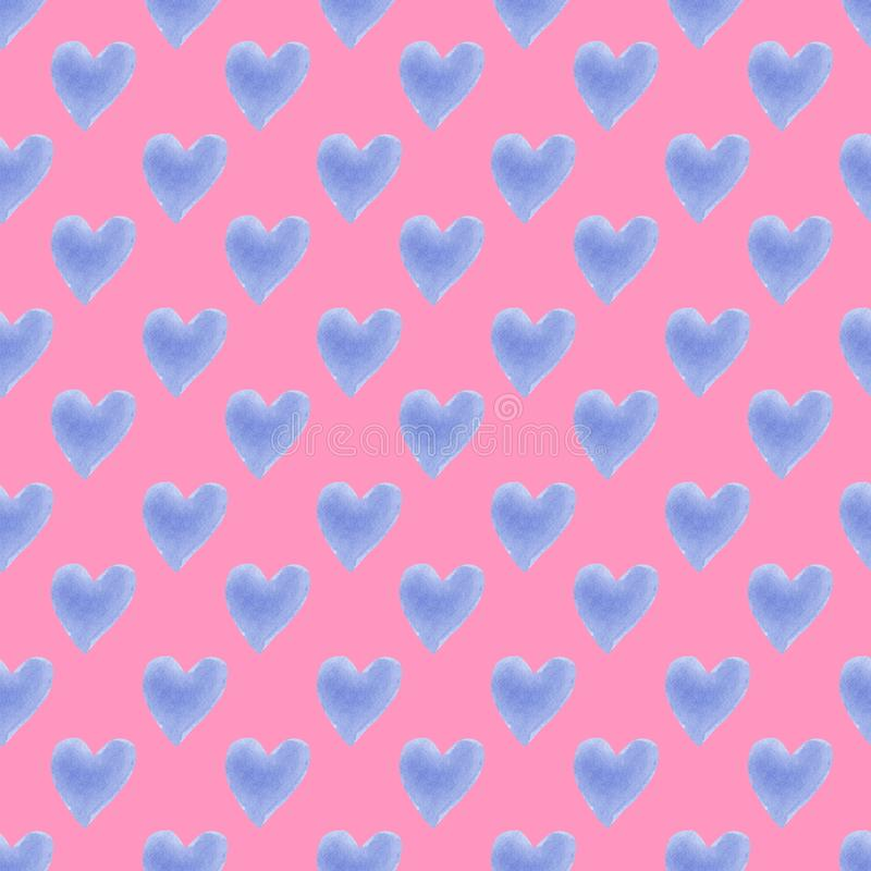 Hand drawn watercolor hearts silhouettes cute trendy seamless pattern royalty free illustration