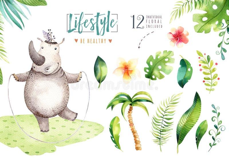 Hand drawn watercolor hippopotamus animals. Boho nursery yoga practice hippo illustrations, jungle tree, brazil trendy vector illustration