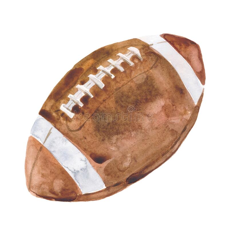 Free Hand Drawn Watercolor Illustration: American Football Ball Isolated On White Background. Royalty Free Stock Photography - 191692997