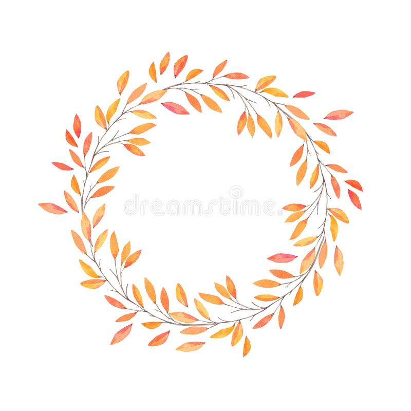 Hand drawn watercolor illustration. Autumn Wreath. Fall leaves. Perfect for wedding invitations, greeting cards, blogs, prints and more royalty free illustration