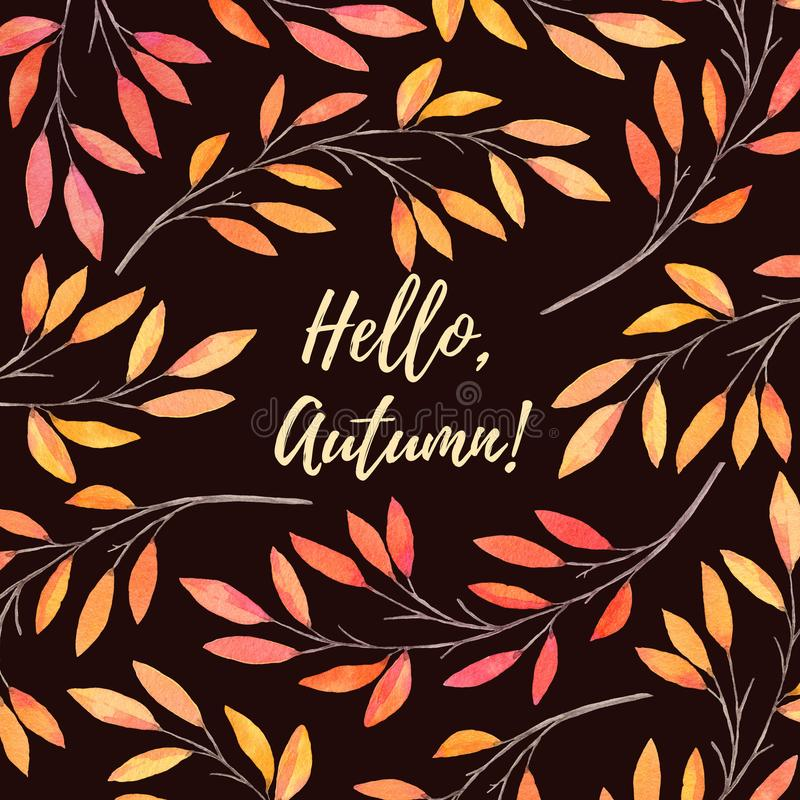 Hand drawn watercolor illustration. Background with Fall leaves. Forest design elements. Hello Autumn! Perfect for wedding invitations, greeting cards, blogs vector illustration
