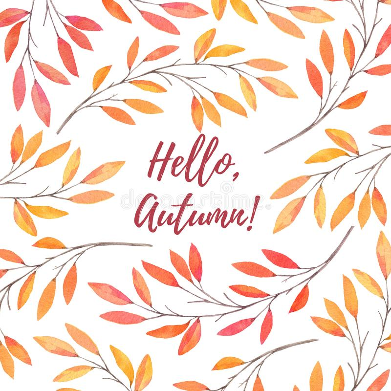Hand drawn watercolor illustration. Background with Fall leaves. Forest design elements. Hello Autumn! Perfect for wedding invitations, greeting cards, blogs royalty free illustration