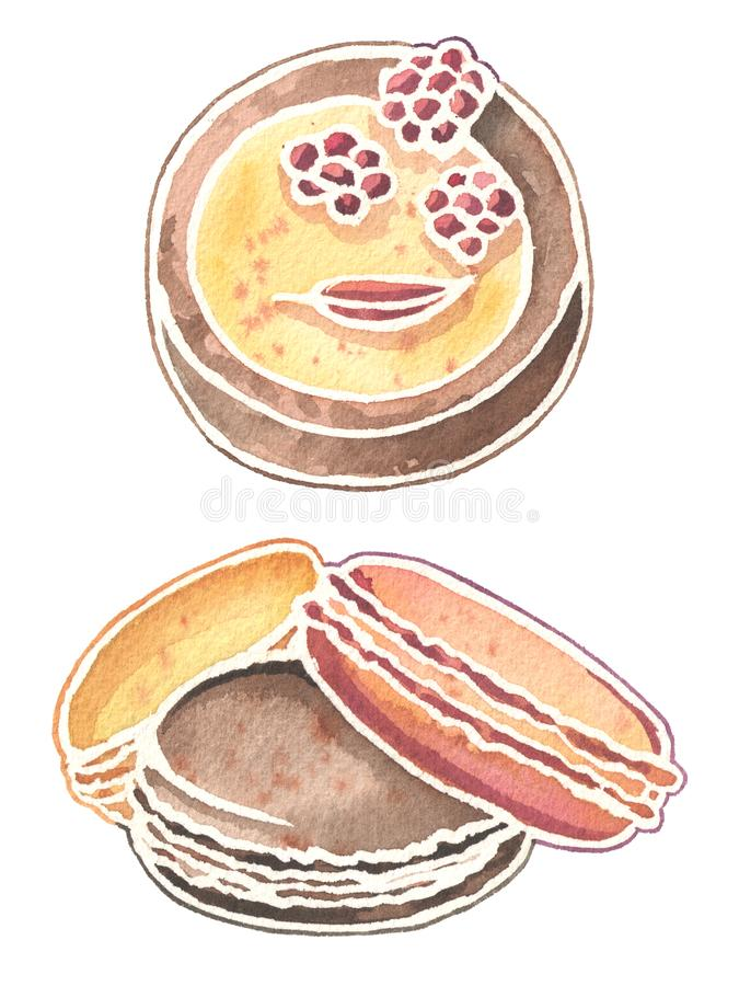 Watercolor sweet desserts: raspberry cake and macaroons. Hand drawn watercolor illustration. Beautiful picture for prints, design or cards. Watercolor sweet royalty free illustration