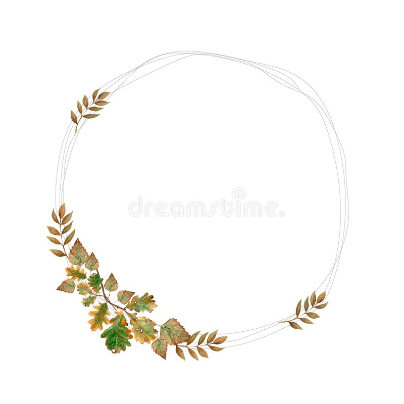 Hand drawn watercolor illustration. Botanical wreath of green and yellow branches and leaves. Spring and autumn mood. Floral vector illustration