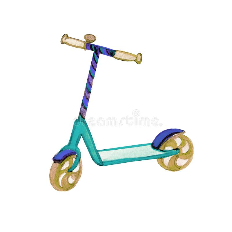 Hand drawn watercolor illustration child colorful scooter on white background for healthy lifestyle design. vector illustration