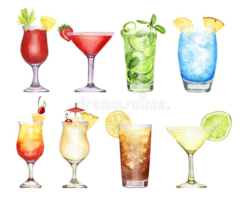 Hand drawn watercolor cocktail set isolated on white background. Hand-drawn watercolor illustration of cocktails blue lagoon, Pina colada, long island ice tea royalty free illustration