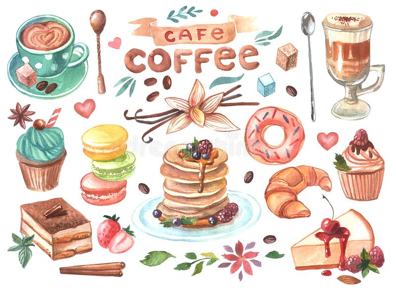 Hand drawn watercolor illustration coffee and sweets royalty free illustration