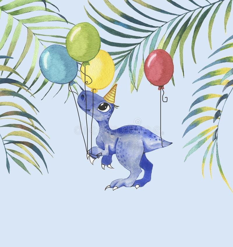 Hand drawn watercolor illustration of cute cartoon dinosaur with colorful balloons and tropical leaves vector illustration