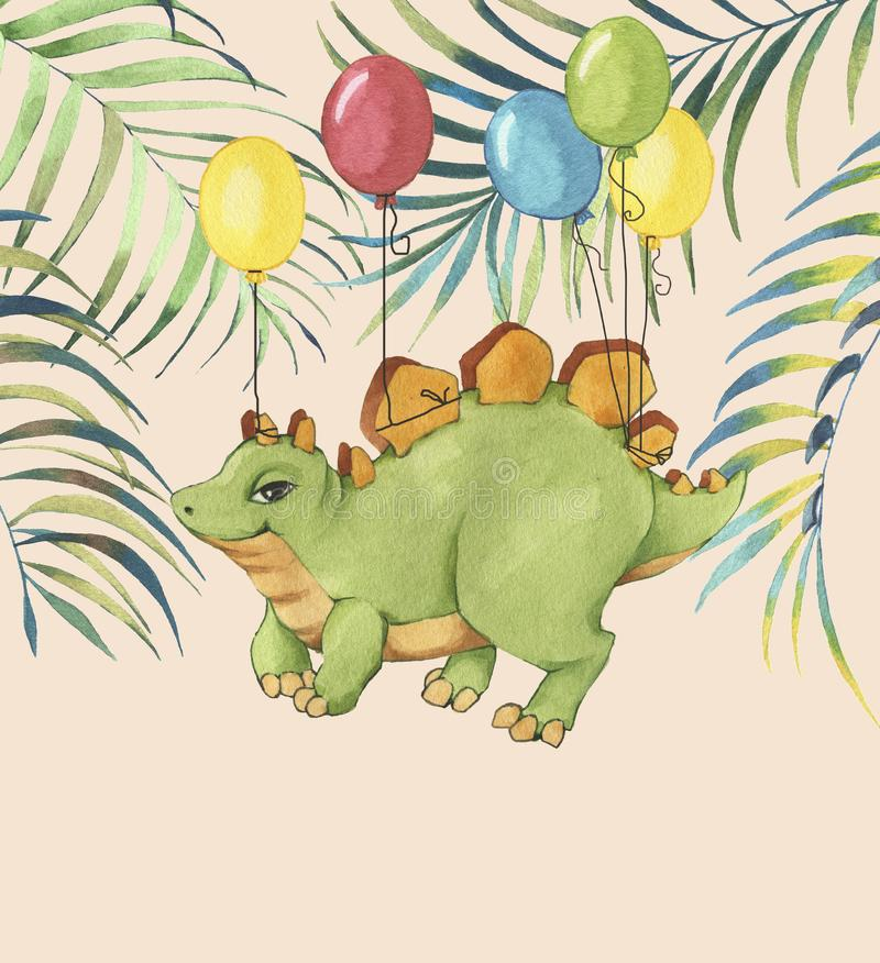 Hand drawn watercolor illustration of cute cartoon dinosaur with colorful balloons and tropical leaves stock illustration