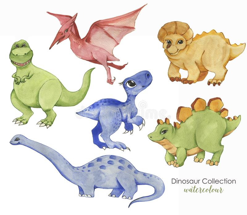 Hand drawn watercolor illustration of cute dinosaurs. Historical reptiles. Collection dinosaurs - cartoon character royalty free illustration