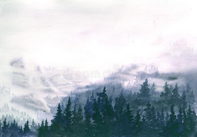 Hand Drawn Watercolor Illustration of Foggy Landscape. Mountains covered misty forest stock image
