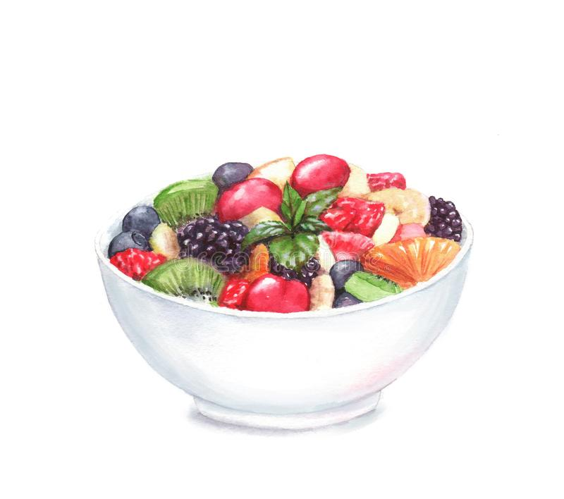Hand drawn watercolor illustration of the food: fruit salad in the plate stock image