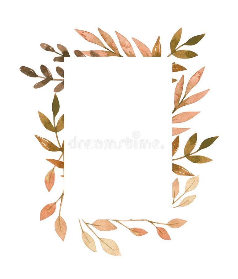 Hand drawn watercolor illustration. Frame with fall leaves, spruce branch and berries. Forest design elements. Hello vector illustration