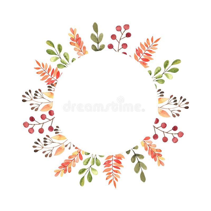 Hand drawn watercolor illustration. Frame with fall leaves, spruce branch and berries. Forest design elements. Hello stock illustration