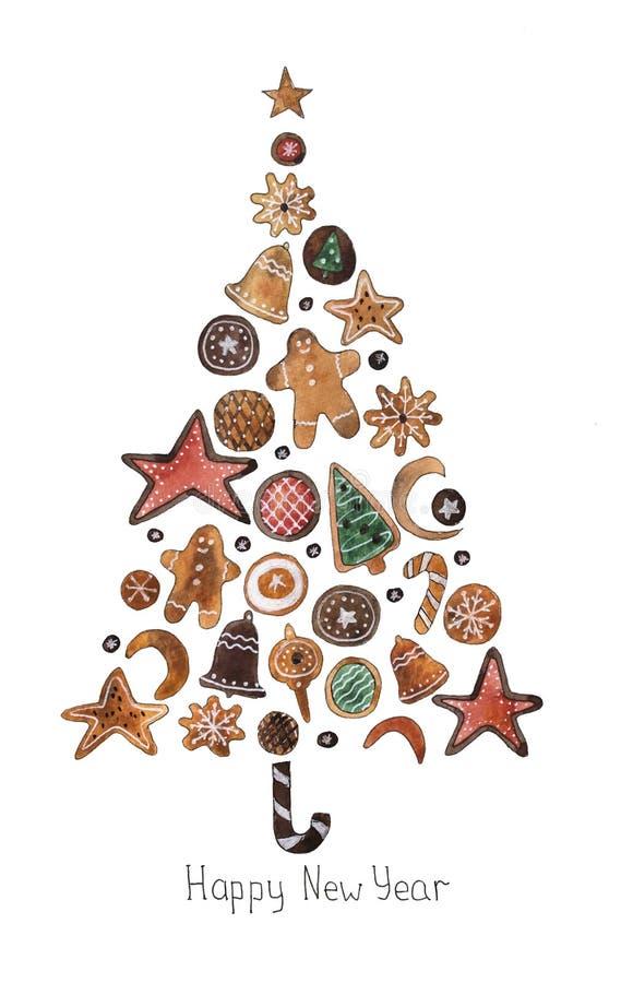 Hand drawn watercolor illustration. Gingerbread and sweets christmas tree. Hand drawn watercolor illustration. Gingerbread, sweets and candies christmas tree vector illustration