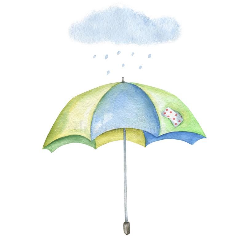 Watercolor image of colored umbrella with cloud and rain stock illustration
