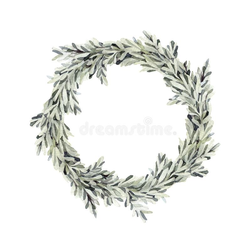 Free Hand Drawn Watercolor Illustration - Green Wreath. Spring Branch Royalty Free Stock Images - 107909159